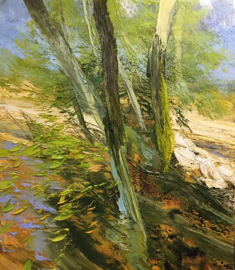 """""""12 October 2018"""" Oil on canvas, 60"""" x 70"""", $27,000<br /><strong>- <a class=""""inquireLink"""" href=""""JavaScript:newPopup('http://thehaengallery.com/inquiry-form/?subject=Lynn Boggess: 12 October 2018');"""">Please inquire</a> -</strong>"""