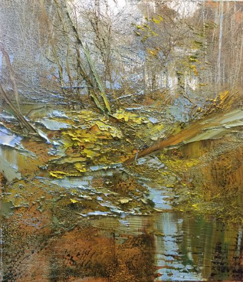 """""""13 October 2018"""" Oil on canvas, 26"""" x 30"""", $6,500<br /><strong>- <a class=""""inquireLink"""" href=""""JavaScript:newPopup('http://thehaengallery.com/inquiry-form/?subject=Lynn Boggess: 13 October 2018');"""">Please inquire</a> -</strong>"""