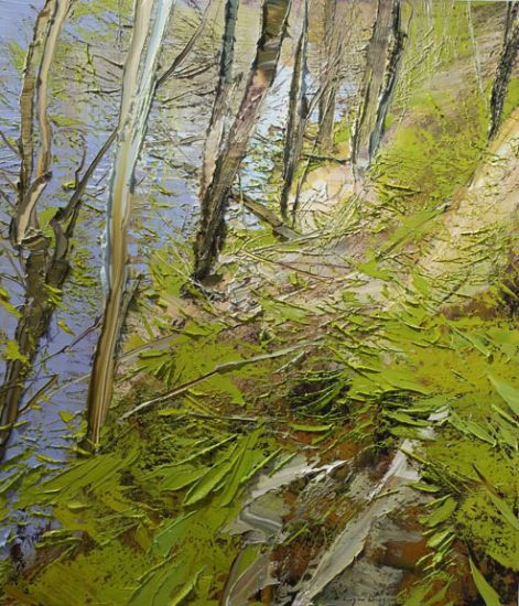 """""""14 April 2017"""" Oil on canvas, 35"""" x 40""""<br /><strong>- <a class=""""inquireLink"""" href=""""JavaScript:newPopup('http://thehaengallery.com/inquiry-form/?subject=Lynn Boggess: 14 April 2017');"""">Please inquire</a> -</strong>"""
