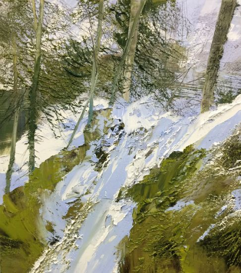 """""""1 March 2018"""" Oil on canvas, 35"""" x 40"""", $10,000<br /><strong>- <a class=""""inquireLink"""" href=""""JavaScript:newPopup('http://thehaengallery.com/inquiry-form/?subject=Lynn Boggess: 1 March 2018');"""">Please inquire</a> -</strong>"""