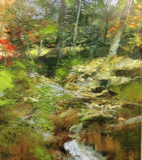"""""""27 August 2018"""" Oil on canvas, 40"""" x 46"""", $12,500<br /><strong>- <a class=""""inquireLink"""" href=""""JavaScript:newPopup('http://thehaengallery.com/inquiry-form/?subject=Lynn Boggess: 27 August 2018');"""">Please inquire</a> -</strong>"""