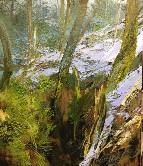 """""""31 March 2018"""" Oil on canvas, 60"""" x 70"""", $27,000<br /><strong>- <a class=""""inquireLink"""" href=""""JavaScript:newPopup('http://thehaengallery.com/inquiry-form/?subject=Lynn Boggess: 31 March 2018');"""">Please inquire</a> -</strong>"""