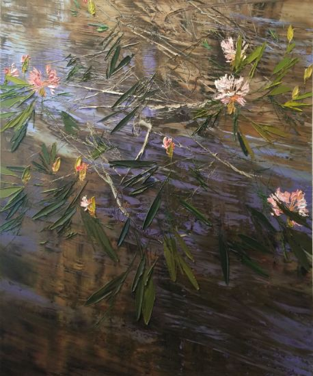 """""""4 July 2015"""" Oil on canvas, 54"""" x 64""""<br /><strong>- <a class=""""inquireLink"""" href=""""JavaScript:newPopup('http://thehaengallery.com/inquiry-form/?subject=Lynn Boggess: 4 July 2015');"""">Please inquire</a> -</strong>"""
