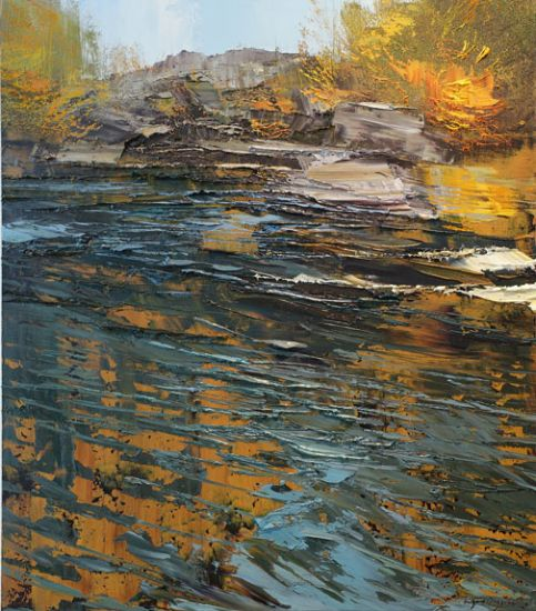 """""""5 October 2015"""" Oil on canvas, 30"""" x 34""""<br /><strong>- <a class=""""inquireLink"""" href=""""JavaScript:newPopup('http://thehaengallery.com/inquiry-form/?subject=Lynn Boggess: 5 October 2015');"""">Please inquire</a> -</strong>"""