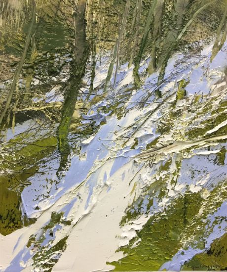 """""""8 March 2018"""" Oil on canvas, 30"""" x 34"""", $5000<br /><strong>- <a class=""""inquireLink"""" href=""""JavaScript:newPopup('http://thehaengallery.com/inquiry-form/?subject=Lynn Boggess: 8 March 2018');"""">Please inquire</a> -</strong>"""