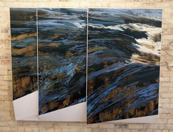 """Elevations: 19 September 2015"" Oil on canvas, 78"" x 61""<br /><strong>- <a class=""inquireLink"" href=""JavaScript:newPopup('http://thehaengallery.com/inquiry-form/?subject=Lynn Boggess: Elevations: 19 September 2015');"">Please inquire</a> -</strong>"