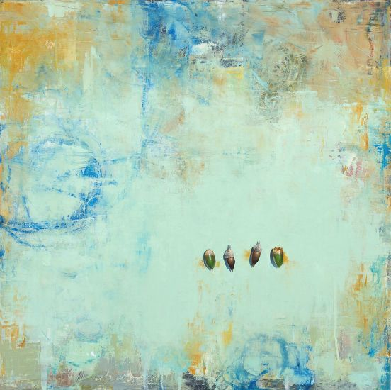 """""""Four Acorns"""" Oil on panel, 24"""" x 24""""<br /><strong>- <a class=""""inquireLink"""" href=""""JavaScript:newPopup('http://thehaengallery.com/inquiry-form/?subject=Byron Gin: Four Acorns');"""">Please inquire</a> -</strong>"""