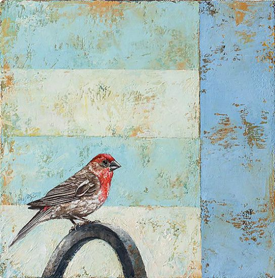 """Backyard Finch"" Oil on canvas, 12"" x 12""<br /><strong>- SOLD -</strong>"