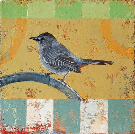 """Catbird Seat"" Oil on canvas, 10"" x 10""<br /><strong>- SOLD -</strong>"