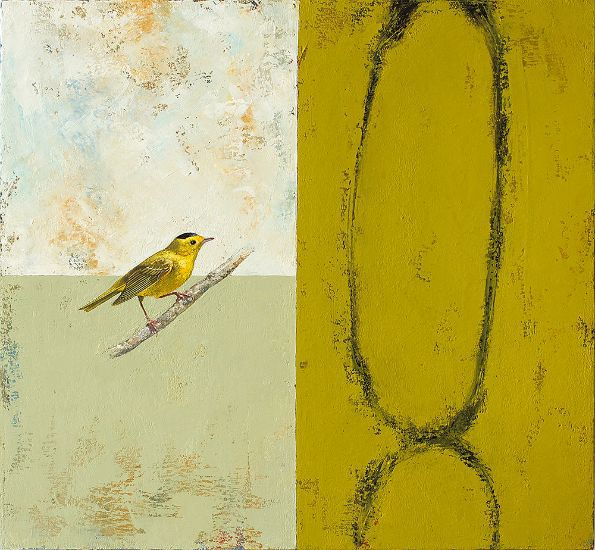 """Wilson's Warbler"" Oil on canvas, 26"" x 24""<br /><strong>- SOLD -</strong>"