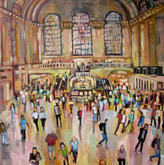 """""""Everyday Scene at Grand Central Station"""" Oil on canvas, 48"""" x 48"""" (framed)<br /><strong>- <a class=""""inquireLink"""" href=""""JavaScript:newPopup('http://thehaengallery.com/inquiry-form/?subject=Ursula Gullow: Everyday Scene At Grand Central Station');"""">Please inquire</a> -</strong>"""