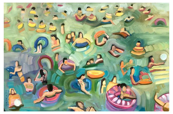 """Float Party"" Oil on canvas, 36"" x 24""<br /><strong>- <a class=""inquireLink"" href=""JavaScript:newPopup('http://thehaengallery.com/inquiry-form/?subject=Ursula Gullow: Float Party');"">Please inquire</a> -</strong>"
