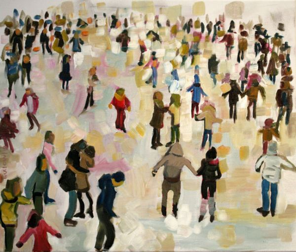 """""""Ice Skaters IV"""" Oil on canvas, 20"""" x 17""""<br /><strong>- SOLD -</strong>"""