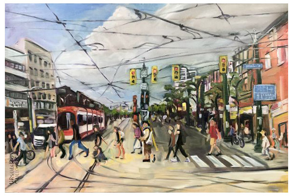 """Toronto Street"" Oil on canvas, 36"" x 24""<br /><strong>- <a class=""inquireLink"" href=""JavaScript:newPopup('http://thehaengallery.com/inquiry-form/?subject=Ursula Gullow: Toronto Street');"">Please inquire</a> -</strong>"
