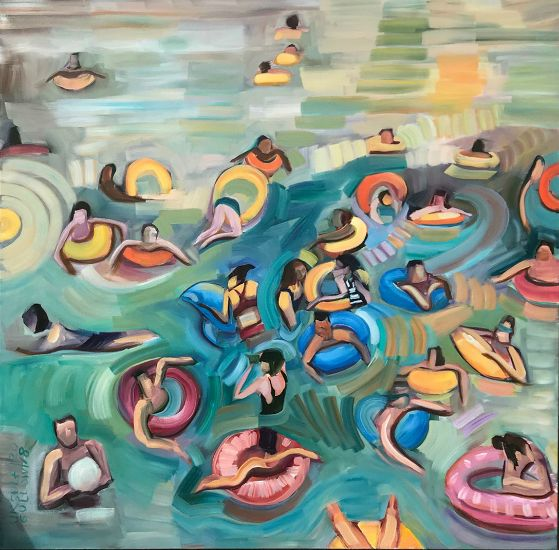 """Tubing Time"" Oil on canvas, 36"" x 36""<br /><strong>- <a class=""inquireLink"" href=""JavaScript:newPopup('http://thehaengallery.com/inquiry-form/?subject=Ursula Gullow: Tubing Time');"">Please inquire</a> -</strong>"