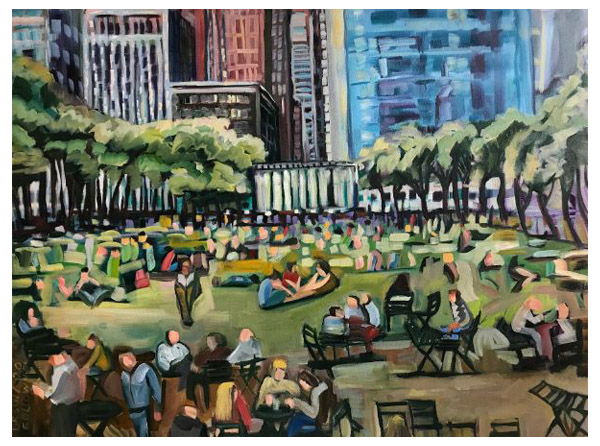 """Luncheon on the Grass"" Oil on canvas, 40"" x 30""<br /><strong>- <a class=""inquireLink"" href=""JavaScript:newPopup('http://thehaengallery.com/inquiry-form/?subject=Ursula Gullow: Luncheon on the Grass');"">Please inquire</a> -</strong>"