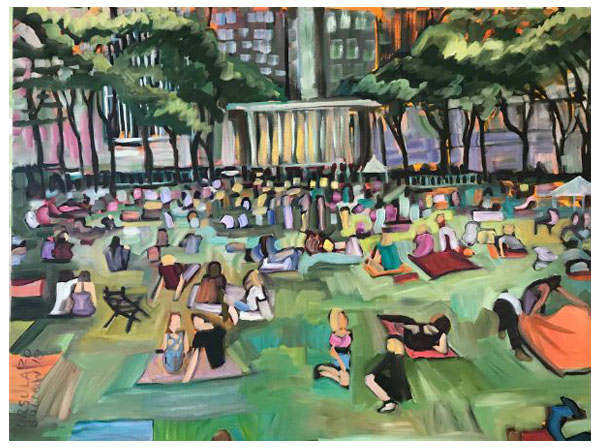 """Picnicking in the Park"" Oil on canvas, 40"" x 30""<br /><strong>- <a class=""inquireLink"" href=""JavaScript:newPopup('http://thehaengallery.com/inquiry-form/?subject=Ursula Gullow: Picnicking in the Park');"">Please inquire</a> -</strong>"