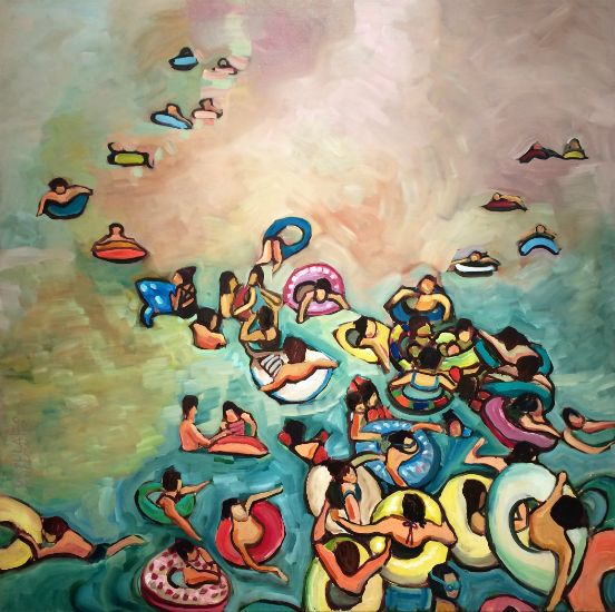 """""""Tubing II"""" Oil on canvas, 36"""" x 36"""", $4000<br /><strong>- <a class=""""inquireLink"""" href=""""JavaScript:newPopup('http://thehaengallery.com/inquiry-form/?subject=Ursula Gullow: Tubing II');"""">Please inquire</a> -</strong>"""