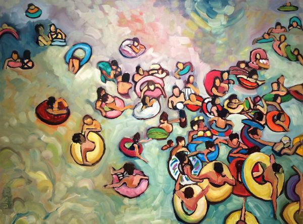 """""""Tubing"""" Oil on canvas, 40"""" x 30"""", $3800<br /><strong>- SOLD -</strong>"""