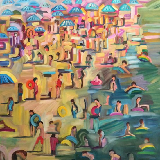 """""""Vacationing"""" Oil on canvas, 40"""" x 40"""", $5400<br /><strong>- <a class=""""inquireLink"""" href=""""JavaScript:newPopup('http://thehaengallery.com/inquiry-form/?subject=Ursula Gullow: Vacationing');"""">Please inquire</a> -</strong>"""