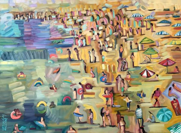 """Beach Getaway"" Oil on canvas, 48"" x 36""<br /><strong>- SOLD -</strong>"