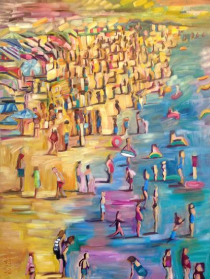 """""""Beach Shore"""" Oil on canvas, 36"""" x 48""""<br /><strong>- SOLD -</strong>"""