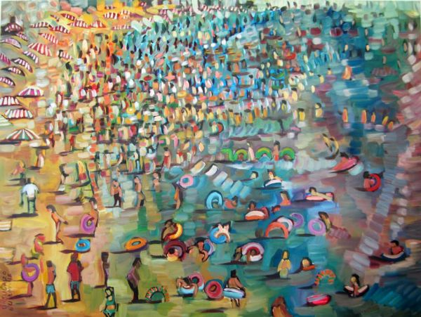 """""""Beachscape I"""" Oil on canvas, 49"""" x 37""""<br /><strong>- <a class=""""inquireLink"""" href=""""JavaScript:newPopup('http://thehaengallery.com/inquiry-form/?subject=Ursula Gullow: Beachscape I');"""">Please inquire</a> -</strong>"""