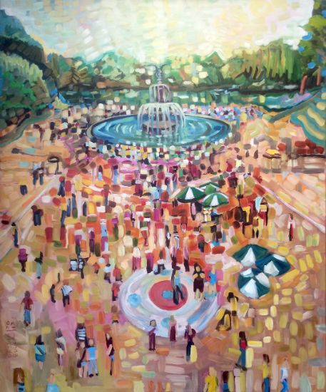 """""""Central Park Scene"""" Oil on canvas, 45"""" x 54"""", $6100<br /><strong>- <a class=""""inquireLink"""" href=""""JavaScript:newPopup('http://thehaengallery.com/inquiry-form/?subject=Ursula Gullow: Central Park Scene');"""">Please inquire</a> -</strong>"""