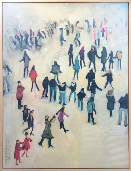 """""""Friends On The Rink"""" Oil on canvas, 30"""" x 40"""", $4200<br /><strong>- <a class=""""inquireLink"""" href=""""JavaScript:newPopup('http://thehaengallery.com/inquiry-form/?subject=Ursula Gullow: Friends On The Rink');"""">Please inquire</a> -</strong>"""