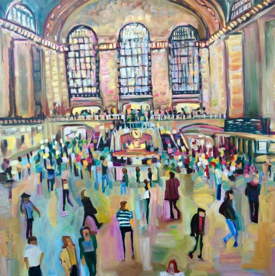 """Grand Central Station IV (Afternoon Crowd)"" Oil on canvas, 36"" x 36""<br /><strong>- SOLD -</strong>"