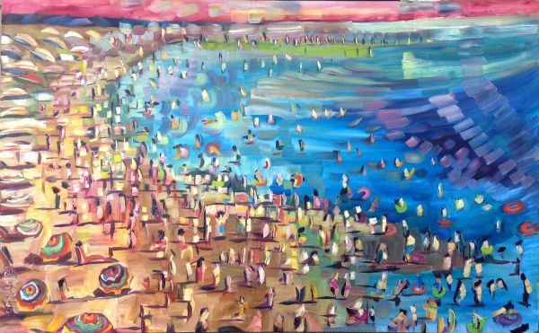 """""""Beach Wave"""" Oil on canvas, 48"""" x 30""""<br /><strong>- SOLD -</strong>"""
