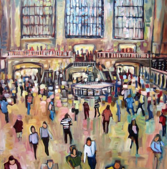 """""""Grand Central Station III"""" Oil on canvas, 40"""" x 40""""<br /><strong>- SOLD -</strong>"""