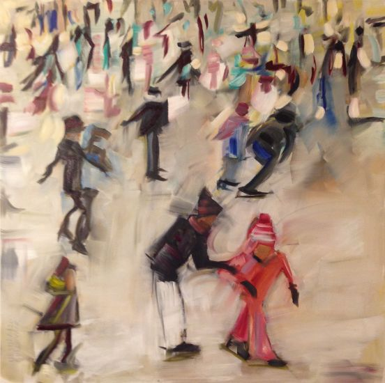 """""""Skating Crowd II"""" Oil on canvas, 36"""" x 36""""<br /><strong>- SOLD -</strong>"""