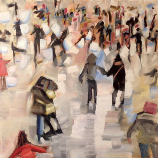 """""""Skating Crowd I"""" Oil on canvas, 36"""" x 36"""", $3200<br /><strong>- <a class=""""inquireLink"""" href=""""JavaScript:newPopup('http://thehaengallery.com/inquiry-form/?subject=Ursula Gullow: Skating Crowd I');"""">Please inquire</a> -</strong>"""