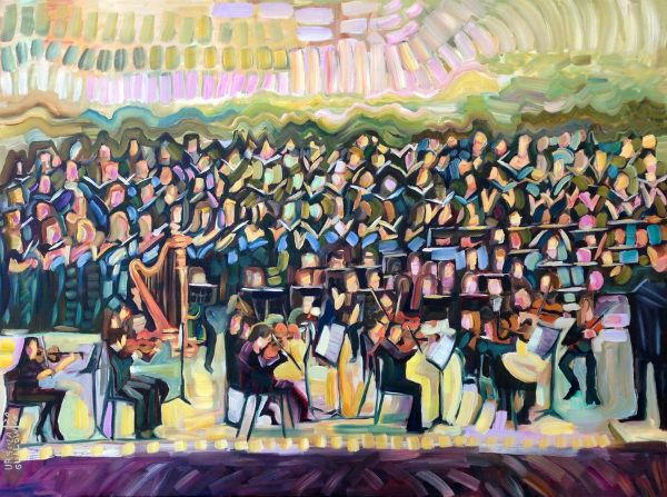 """""""Strings and Voices"""" Oil on canvas, 48"""" x 36"""" (framed)<br /><strong>- SOLD -</strong>"""