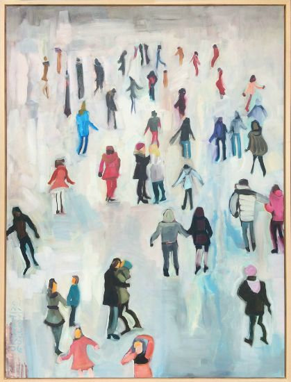 """Hug On The Rink"" Oil on canvas, 30"" x 40""<br /><strong>- SOLD -</strong>"