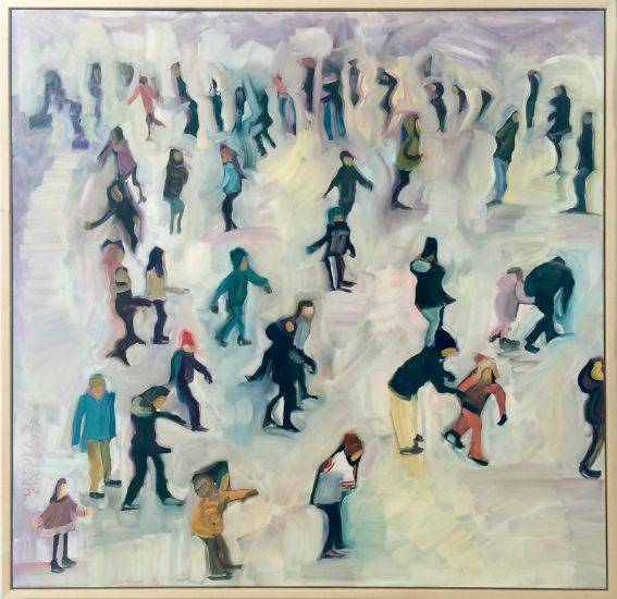 """""""Ice Rink"""" Oil on canvas, 36"""" x 36"""", $4500<br /><strong>- <a class=""""inquireLink"""" href=""""JavaScript:newPopup('http://thehaengallery.com/inquiry-form/?subject=Ursula Gullow: Ice Rink');"""">Please inquire</a> -</strong>"""