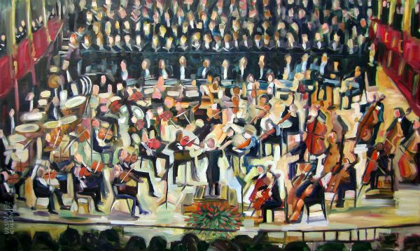 """Lyrical Symphony"" Oil on canvas, 60"" x 36""<br /><strong>- <a class=""inquireLink"" href=""JavaScript:newPopup('http://thehaengallery.com/inquiry-form/?subject=Ursula Gullow: Lyrical Symphony');"">Please inquire</a> -</strong>"
