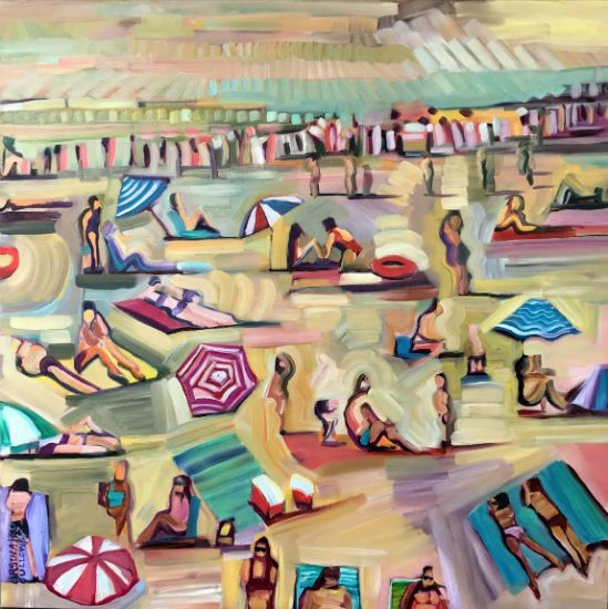 """On the Beach"" Oil on canvas, 36"" x 36""<br /><strong>- <a class=""inquireLink"" href=""JavaScript:newPopup('http://thehaengallery.com/inquiry-form/?subject=Ursula Gullow: On the Beach');"">Please inquire</a> -</strong>"