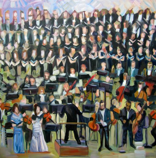 """""""Singers With Strings"""" Oil on canvas, 36"""" x 36"""", $4500<br /><strong>- <a class=""""inquireLink"""" href=""""JavaScript:newPopup('http://thehaengallery.com/inquiry-form/?subject=Ursula Gullow: Singers With Strings');"""">Please inquire</a> -</strong>"""