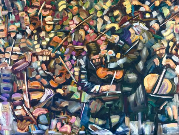 """""""Strings & Bows"""" Oil on canvas, 40"""" x 30"""", $4200<br /><strong>- <a class=""""inquireLink"""" href=""""JavaScript:newPopup('http://thehaengallery.com/inquiry-form/?subject=Ursula Gullow: Strings & Bows');"""">Please inquire</a> -</strong>"""
