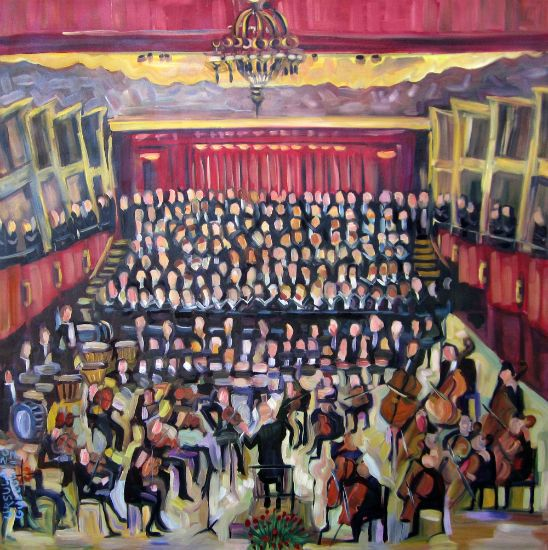 """Symphony and Voices"" Oil on canvas, 36"" x 36""<br /><strong>- SOLD -</strong>"