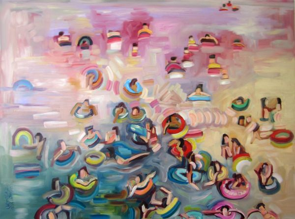 """""""Tubes and Floats"""" Oil on canvas, 48"""" x 36""""<br /><strong>- SOLD -</strong>"""