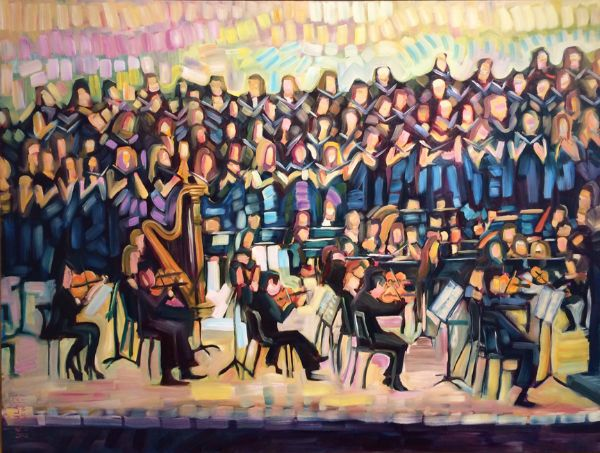 """""""Strings & Choir"""" Oil on canvas, 48"""" x 36""""<br /><strong>- SOLD -</strong>"""