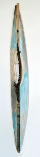 """""""Blue Cactus Canoe"""" ash, cactus hull, paint and barn siding, 64"""" x 8"""" x 4""""<br /><strong>- <a class=""""inquireLink"""" href=""""JavaScript:newPopup('http://thehaengallery.com/inquiry-form/?subject=Melinda Rosenberg: Blue Cactus Canoe');"""">Please inquire</a> -</strong>"""