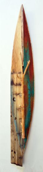 """Canoe 34"" mulberry branch, paint on ash and barn siding, 56"" x 8"" x 4"", alt="