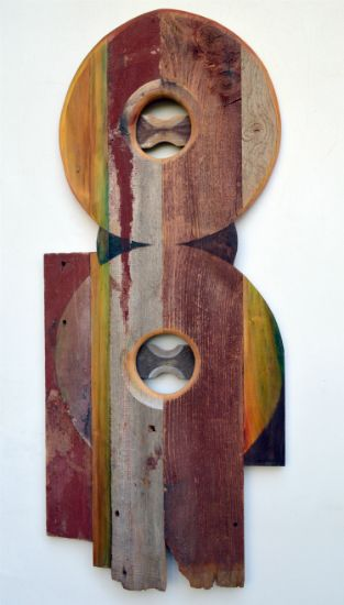 """Double Circle"" paint, anilline dyes on pine and barn siding, 43"" x 18"" x 3""<br /><strong>- SOLD -</strong>"