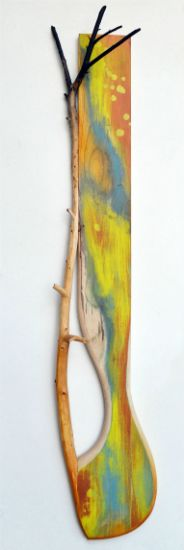 """Into Wood"" mulberry branch, paint on ash, 48"" x 10"" x 6"", alt="