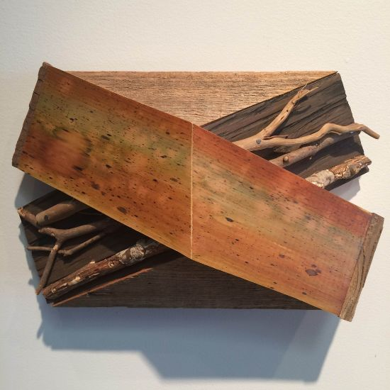 """""""X-10"""" Aniline dyes & paint on pine, cedar, sticks, & found wood, 8"""" x 12"""" x 4""""<br /><strong>- <a class=""""inquireLink"""" href=""""JavaScript:newPopup('http://thehaengallery.com/inquiry-form/?subject=Melinda Rosenberg: X-10');"""">Please inquire</a> -</strong>"""