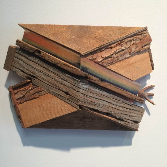 """""""X-14"""" Aniline dyes & paint on pine, poplar, & found wood, 8"""" x 12"""" x 4""""<br /><strong>- <a class=""""inquireLink"""" href=""""JavaScript:newPopup('http://thehaengallery.com/inquiry-form/?subject=Melinda Rosenberg: X-14');"""">Please inquire</a> -</strong>"""